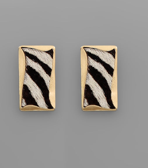 Zebra print rectangle earrings