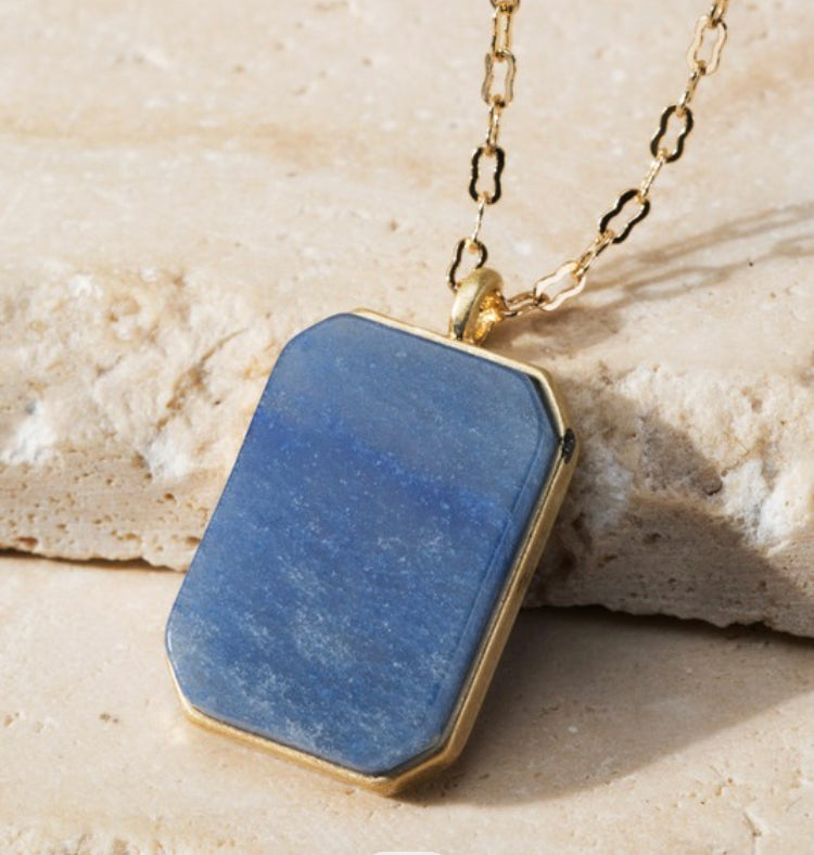 Blue sodalite natural stone necklace