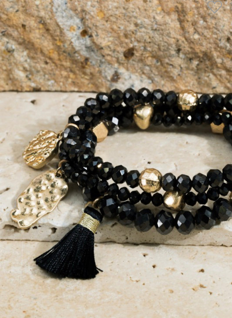 Black Shimmering glass bead bracelet