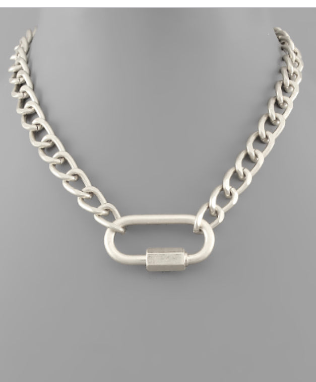 Silver Carabiner curb chain necklace
