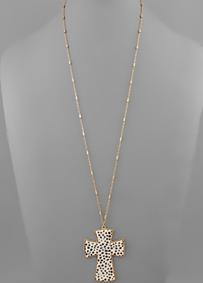 White Cheetah print cross necklace