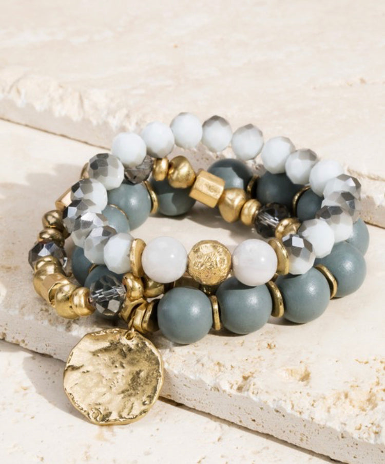 Grey beaded stretch bracelet