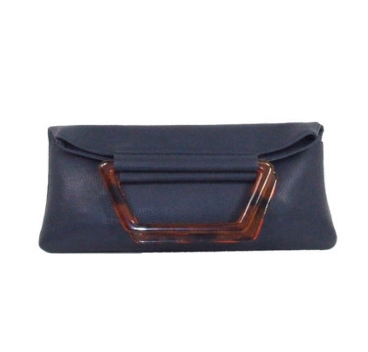 Navy fold over handbag