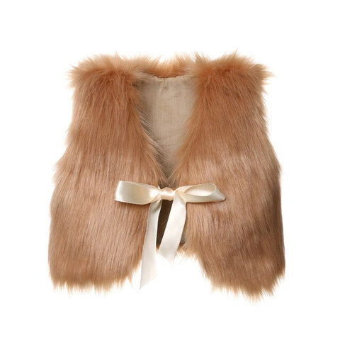 Autumn Baby Girl Kids Fur Vest Waistcoat Warm Winter Coat Outwear Jacket Sleeve Top Bow Solid Cute Kid Girl Clothing 6M-5T