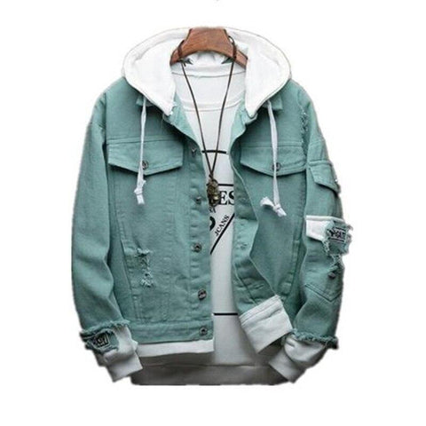 Autumn New Hooded Denim Jacket Men Fashion Bomber Jacket and Coat Man Cowboy