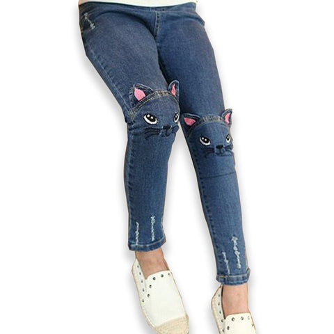 jeans for children girls spring autumn embroider Denim Pants cute cat Slim Fit Blue leggings for 2-8 years toddler kids