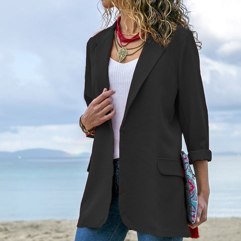 Women Blazer Long Sleeve Open Front Lightweight Casual Office