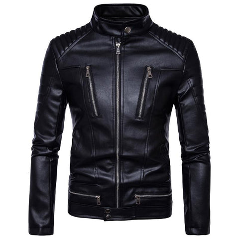 Newest British Motorcycle Leather Jacket Men Classic Design Multi-Zippers Biker Jackets Male Bomber Leather