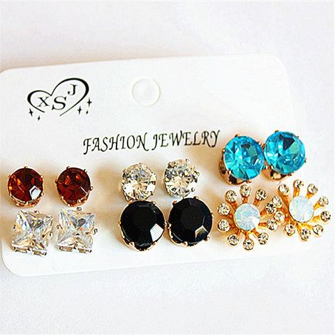 New fashion women gorgeous ornaments Girl Birthday Party Earrings black blue mix 6 pairs of /set Earrings