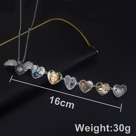 Angle Wings Photo Box Necklace Heart Shaped Foldable Multi Layer Necklace Can hold 5 Photos New Fashion Gift For Friend