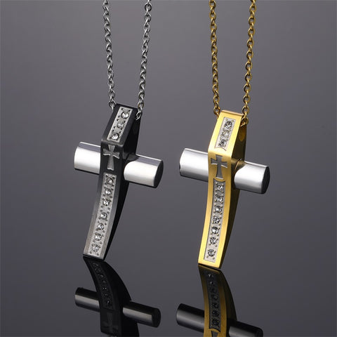 Religious Cross Pendant Men Gold Stainless Steel Necklace Zircon Necklaces & Pendants Prayer Crucifix Christian Jewelry Gifts