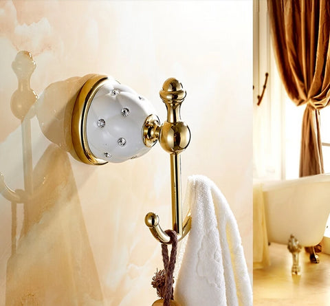 Retail Diamond Ceramic Base Golden Brass Bathroom Hooks Coat Hat Towel Hangers Wall Mounted Dual Peg