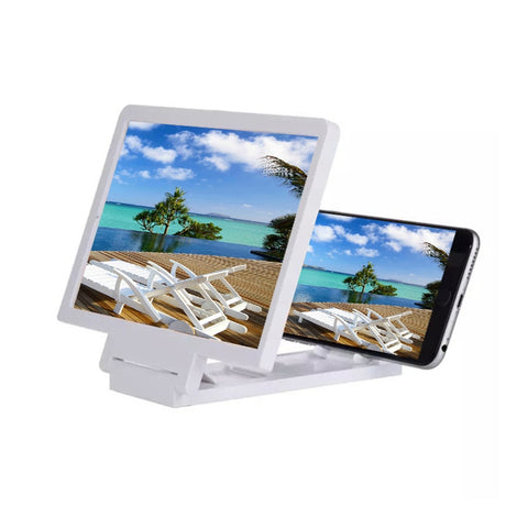 Newest Mobile 3D Lens Movie Screen Enlarge 3X Magnifier Folding Stand Phone Bracket For Mobile Phones Universal White Plastic