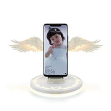 Wireless Charging Dock Fast Charger Vertical Bracket for Huawei iPhone Samsung Mobile Phone Holder Bookshelf Ornament Angel Wing