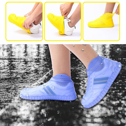 Thicken Silicone Rain Boots Transparent Non-Slip Rainproof Suit Waterproof Shoe Cover Home Dust-proof Shoes Boots Storage Bag