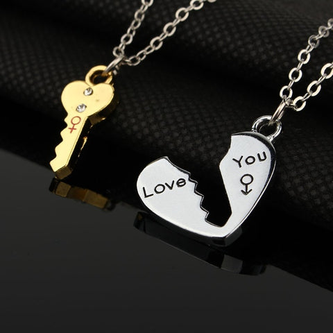 2Pcs European Sliver Plated Key Pendant Necklaces For Womens Lover Couple Jewelry Broken Heart Necklace Valentine Gift