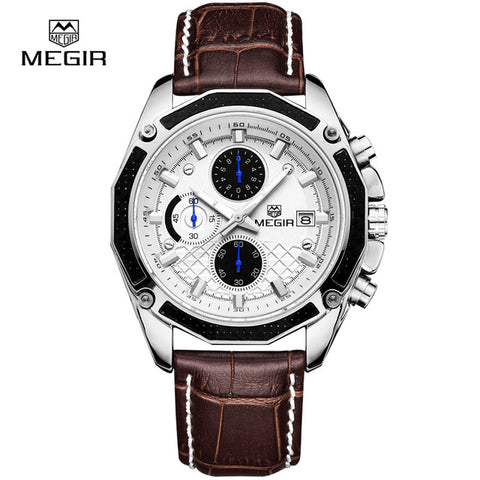 Quartz Men Watches Fashion Genuine Leather Chronograph