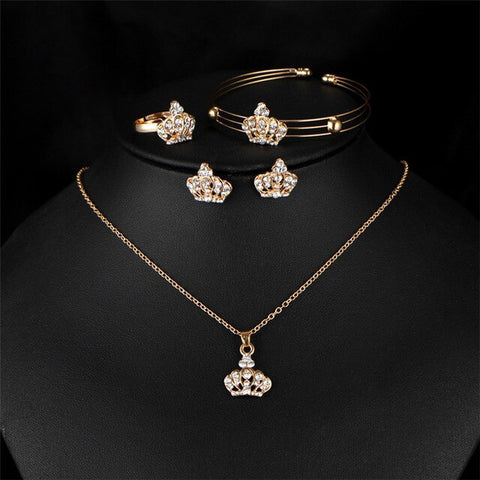 Gold Color Crown Bridal Jewelry Set Hollow Flower Necklace/Earrings/Ring/Bracelet Indian Wedding Accessorie For Woman