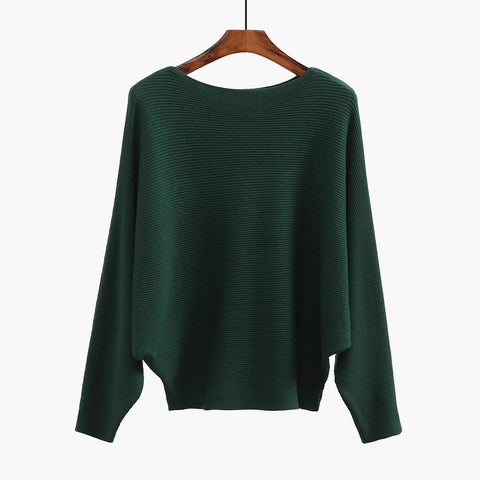 Sweater Women Slash Neck Knitted Winter Sweaters Tops Female Batwing Cashmere Casual Pullovers
