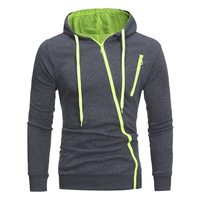 Sportswear men Solid casual High quality Cotton Slim Hoodies fashion men Drawstring Oblique zipper Cardigan Hooded Sweatshirt