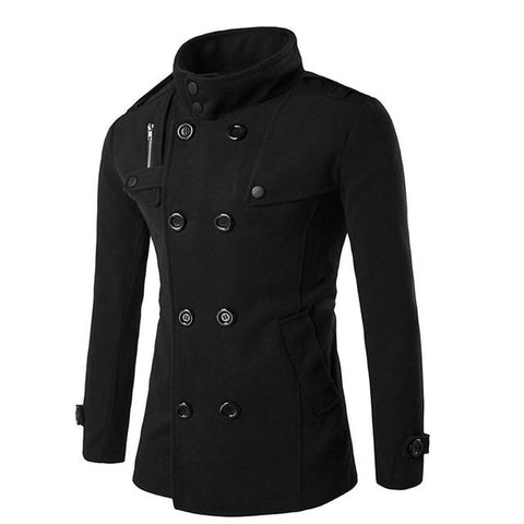 Autumn Winter Men Wool Coat Slim Fit Jackets Double Row Button Collar Outerwear Warm Man Casual Jacket