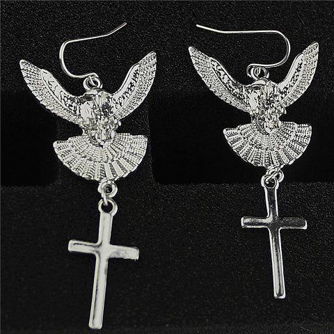 Hot new fashion women's jewelry wholesale, girls birthday party, classic Eagle plus Cross Pendant, Earrings Gift