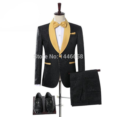 Elegant Brand Groom Tuxedos Groomsmen One Button Black Flower Gold