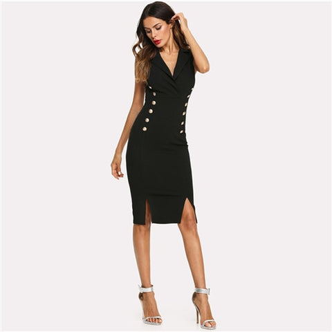 Black Elegant Notched V Neck Double Button Sleeveless Pencil Knee-Length Skinny Dress Summer Women Sexy Workwear Dresses