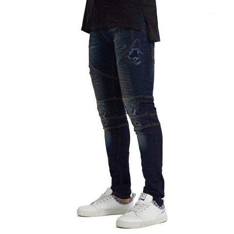 New Men's Motorcycle Biker Jeans Stretch Ripped Destroyed Pencil Jeans
