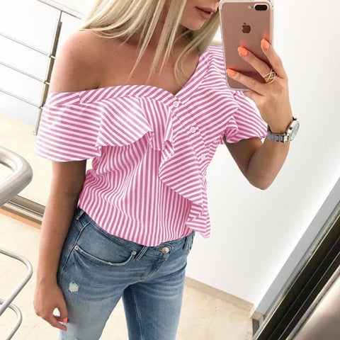 Women's Ladies Casual Short Sleeved Blouse Sexy Loose Frills Word Shoulder Party Shirts Striped Ruffle Tops