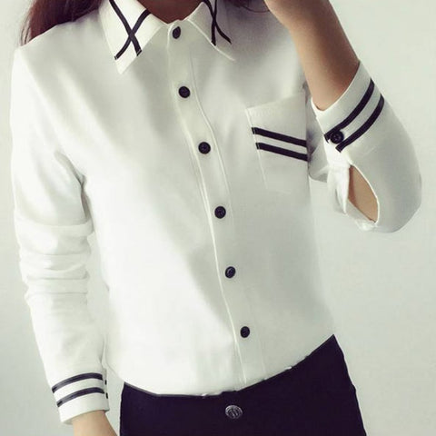 Women Elegant White Blouse Turn Down Collar Shirt Office Ladies