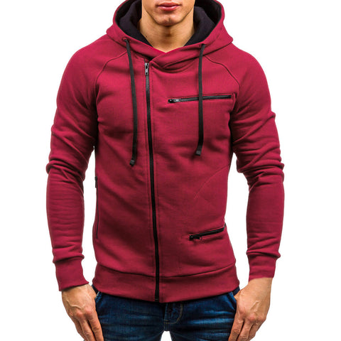 men hoodies autumn Sweatshirts mens hoodie with zipper brand male long sleeve solid white and black red