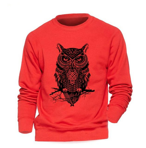 Animal Owl Hoodie Men Black Sweatshirt Casual Crewneck Sweatshirts