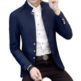 New Fashion Stand Collar Full Sleeve Man Casual Blazer Marry Blazer Men Formal Work Slim Blazer