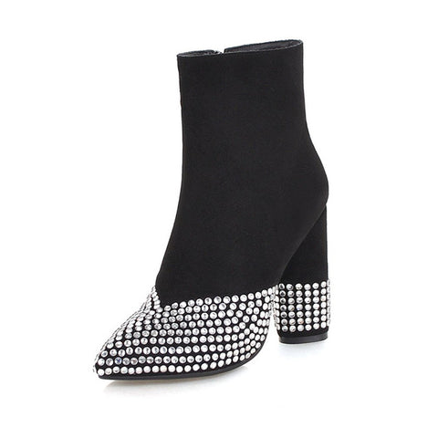 Winter High Heels Women Ankle Boots Pointed Toe Crystal Footwear Zip Female Boot Party Shoes Women Plus Size 46