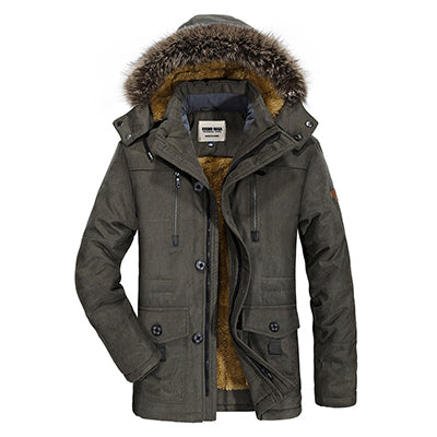 Cotton Hooded Winter Jacket Men Warm Long Parka Hooded Jackets Man Coats Casual Fur Down