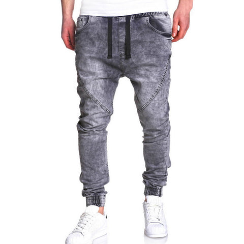New Harem Jeans Men Winter Retro Denim Jeans Fashion Elastic Waist Stretch Streetwear Male Skinny Jeans