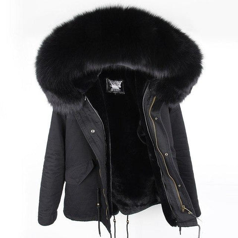 100% Real Raccoon Fur Collar winter fur coat Women camouflage black parkas
