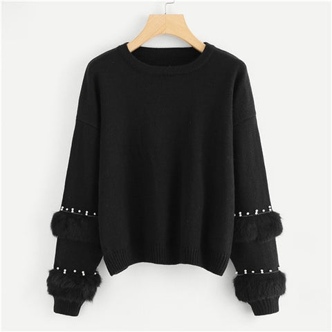 Black Highstreet Elegant Pearl Beading Faux Fur Detail O-Neck Pullovers