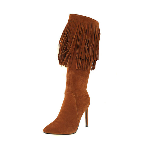 Plus Size 46 Winter Thin High Heels Women Boots Pointed Toe Flock Footwear Knee High Tassel Female Boot Shoes Women