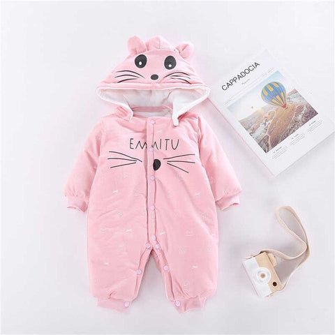 Baby rompers Cartoon animal cat boys girls clothes new born bebe pajamas warm winter recem nascido cute clothing