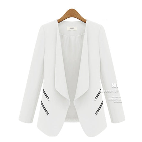 Ladies Blazer Long Personality Zipper Pocket Jacket Sleeve Blaser Women Single Button Slim Suit