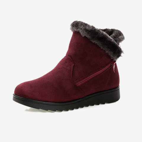 Women Snow Boots Warm Short Fur Plush Winter Ankle Boot Plus Size Platform Ladies Suede Zip Shoes Female Comfort