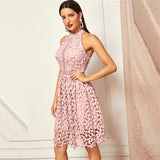 Going Out Pink Party Halter Neck Lace Skater Sleeveless Halter Short Dress Summer Modern Lady Casual Women Dresses