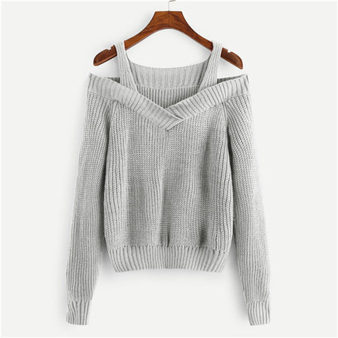 Casual Grey Cold Shoulder Solid Sweater Straps Neck Long Sleeve Pullovers