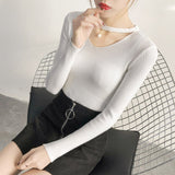 V Neck White Sweaters WomenAutumn Winter New Long Sleeve Sexy Slim Tops