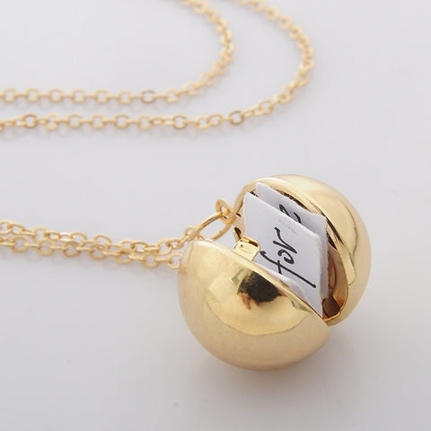 Fashion Jewelry silver gold Color secret polished ball locket charm Memory Photo locket Pendant Silver gold-tone necklace