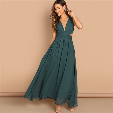 Green Plunge Neck Crisscross Waist Ball Dress Elegant Plain Fit and Flare Dress Women Autumn Modern Lady Party Dresses