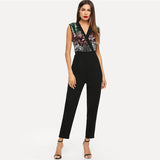 Black Surplice Neck Sequin Beaded Shell Sleeveless Jumpsuit Women V Neck Mid Waist Highstreet Autumn Jumpsuits Black Surplice Neck Sequin Beaded Shell Sleeveless Jumpsuit Women V Neck Mid Waist Highstreet Autumn Jumpsuits