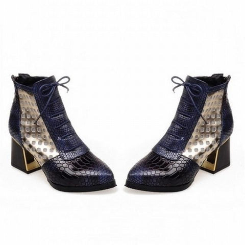 Fashion Ankle Boot Snake Print Cross tie Hoof High Heels Short Boots Pointed toe Spring Boots Shoes Spring Woman Shoe